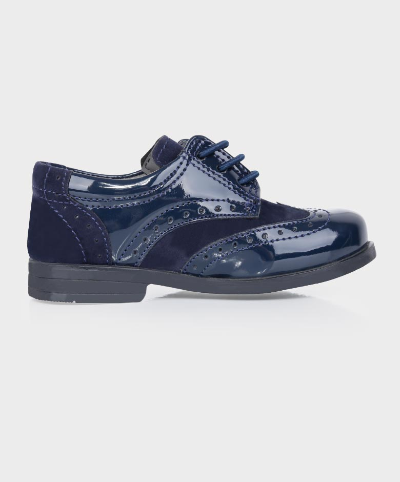 Boys Brand New Navy Suede & Patent Formal Brogue Shoes Infant 5