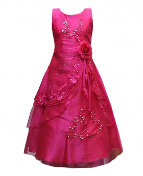 Flower Girls Layered Wedding Bridesmaid Party Dress in Fuchsia Front Picture