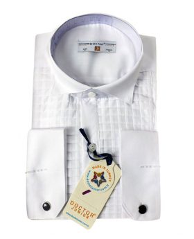 Boys Premium Wing Collar Square Pleated Cufflink Shirt in White Front picture