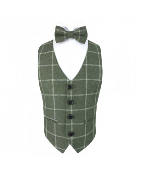 Boys Check Tweed Bow Tie and Pocket Square in Sage Green view of the bow tie and hanky