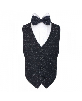 Boys Cosmo Tweed Bow Tie and Pocket Square in Navy Blue Mix