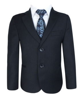 Boys Suit Regular Fit Plain Blazer Jacket with matching waistcoat and tie in Navy Blue Front picture