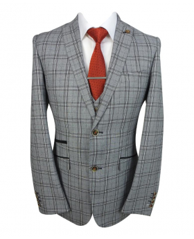 Mens Slim Fit Check blazer and waistcoat with accessories in Light Grey  front  open Picture
