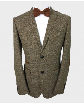 Paul Andrew Men's Tailored Fit Brown Tweed Blazer with Elbow Patches