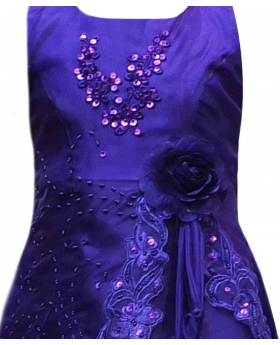 Flower Girls Layered Wedding Bridesmaid Party Dress in Purple detail picture