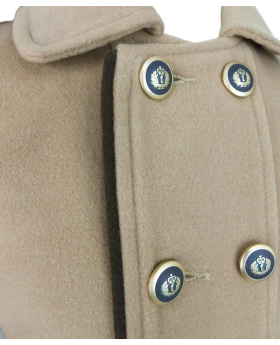 Couche Tot Boys Coat and Hat Set in Camel Brown buttons