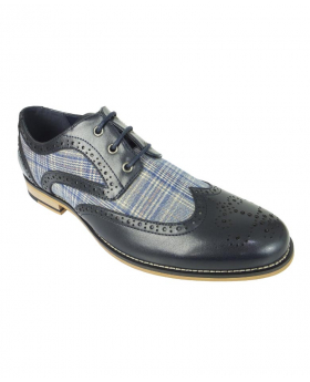 Men's Tartan Textile and Leather Brogues in Navy Blue