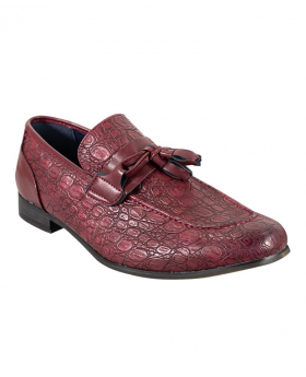 Men's Brindisi Moccasins Loafers Leather Shoes in Dark Red