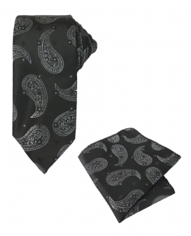 Boys & Men Paisley Formal Dress Tie and Hanky Set in Black and White For Weddings and Special Occasion