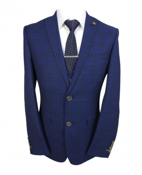 Mens Slim Fit Vintage Check blazer waistcoat in Navy Blue front Picture