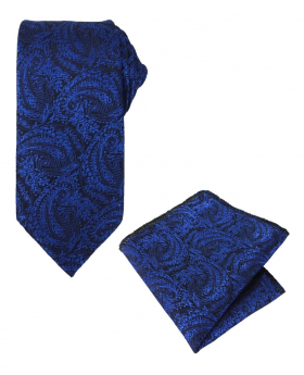 Boys & Men Paisley Formal Dress Suit Tie and Hanky Set in Royal Blue for Weddings and Special Occasion