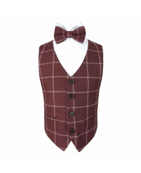 Boys Check Tweed Bow Tie and Pocket Square  in Maroon
