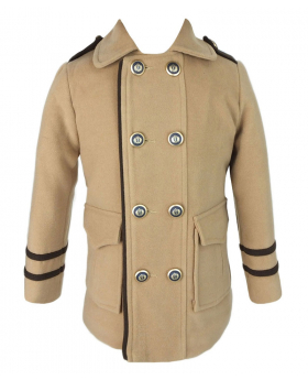 Couche Tot Boys Coat and Hat Set in Camel Brown
