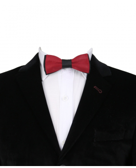 Boys Classic Neck Strap Adjustable Solid Maroon Red Bowtie