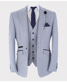 Mens & Boys Suit blazer and waistcoat with accessories Retro Slim Fit Blue Tweed Houndstooth Check Open front picture