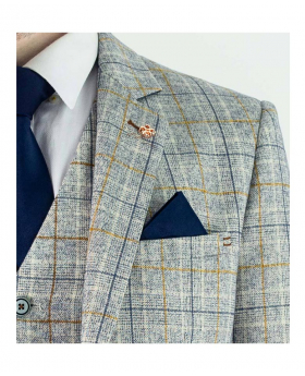 Men's Cody Ice Slim Fit Check Tweed Style Fashion Suit