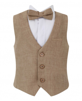 Baby Boy's Single-Breasted Self-Patterned 2 Piece Waistcoat Set without a collar in Beige front picture