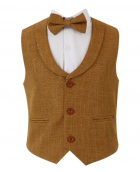 Baby Boy's Single-Breasted Self-Patterned 2 Piece Waistcoat Set  with collar in Tan Brown front picture