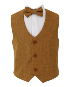 Baby Boy's Single-Breasted Self-Patterned 2 Piece Waistcoat Set without a collar in Tan Brown front picture