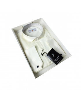 Boys Wing Collar Pleated Cufflink Formal Shirt in Beige side  picture