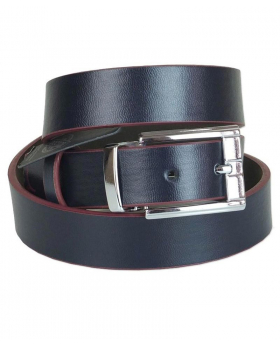 Boys  Faux Leather Navy & Burgundy Belt front picture
