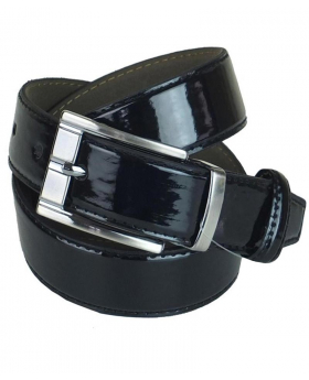 Boys Shiny Black Faux Leather Belt front picture
