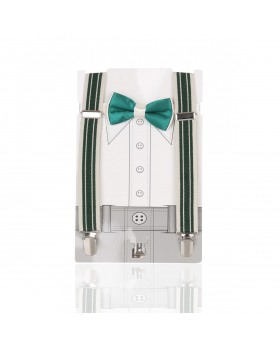 Young Children's adjustable elastic Y-Back Striped Brace with Bow Tie Set in Green and Cream