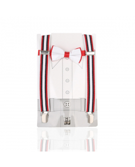 Young Children's adjustable elastic Y-Back Striped Braces with Bow Tie Set in White and Red