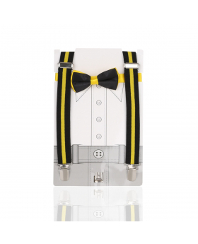 Young Children's adjustable elastic Y-Back Wide Striped Brace with Bow Tie Set in Yellow and Black