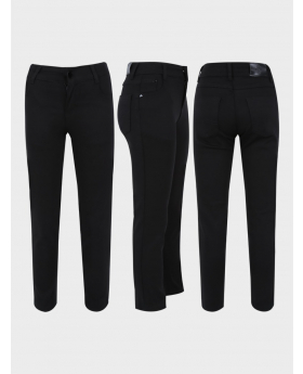 Boys Black Casual Stretch Chino Pant  three side side picture