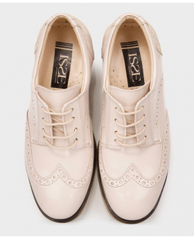 Boys Brand New Cream Patent Formal Brogue Shoes-top