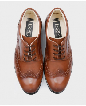 Boys Brand New Tan Patent Formal Brogue Shoes-top