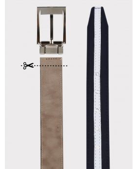 Boys Faux Leather Navy & White Belt detail picture