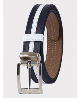 Boys Faux Leather Navy & White Belt front picture