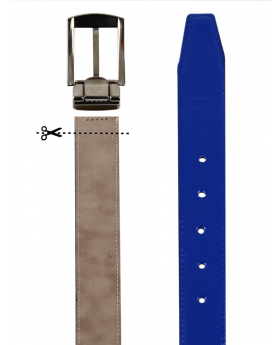 Boys Faux Leather Patent Blue Belt detailed picture