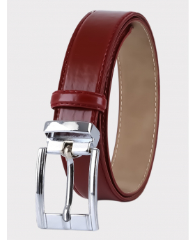 Boys Faux Leather Patent Burgundy Belt Front picture