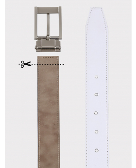Boys Faux Leather Patent White Belt detailed picture