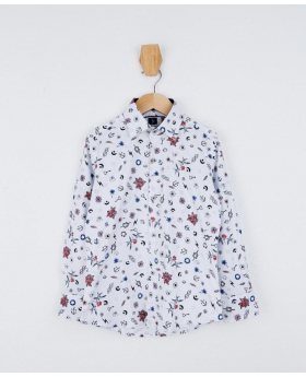 Boys Slim fit Multicolor Printed White Fashion Shirt Front picture