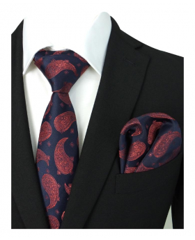 Boys & Men Paisley Diamond Printed Formal Dress Suit Tie and Hanky Set in Navy And Red for Wedding and Special Occasions with Shirt and Jakcet