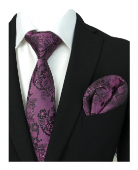 Boys & Men Paisley Swirls Formal Tie and Hanky in Purple and Violet for Weddings and Special Occasions with shirt and suit jacket