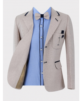 Boys Suit Textured Tweed-Like Formal Blazer Jacket in Beige  with a blue shirt and matching bow tie Front Picture