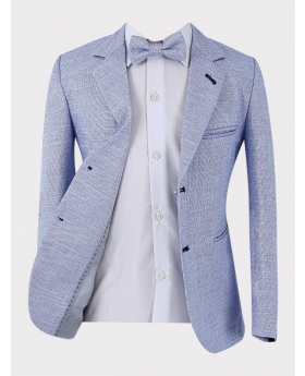 Blue tweed-like blazer jacket with matching bow tie front pictures