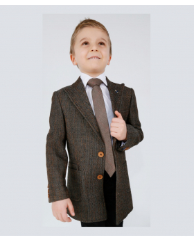 Boys Tailored fit Flecked Donegal Tweed Brown Overcoat Jacket-model-shirt tie hankie chino torousers