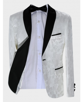 Boys Tailored fit Floral Patterned Ivory Tuxedo Blazer Jacket with accessories  Open Front Picture
