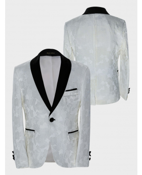 Boys Tailored fit Floral Patterned Ivory Tuxedo blazer jacket  front and back pictures