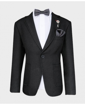 Boys Tailored fit Textured Knitted Blazer Jacket in Black with bowtie,hanky and shirt