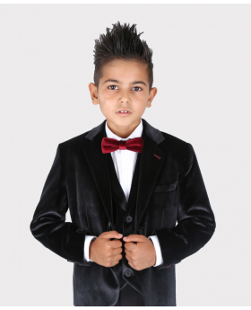 Jungen Tailored Fit Samt Blazer mit Ellenbogenpatches in Schwarz