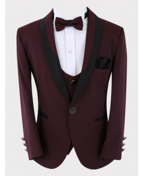 Boys Tuxedo Blazer with waistcoat and accessories  in Burgundy close picture