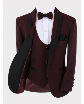 Boys Tuxedo Blazer with waistcoat and accessories  in Burgundy Open picture