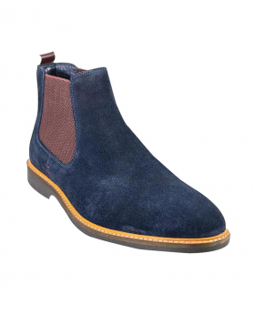 Italian Couture Mens Cavani Navy Slip On Suede Leather Chelsea Boots
